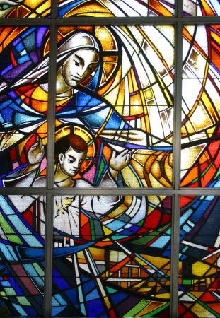 Photo for Virgin Mary with child Jesus, stained glass - Royalty Free Image