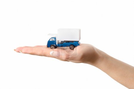 Toy truck on hand