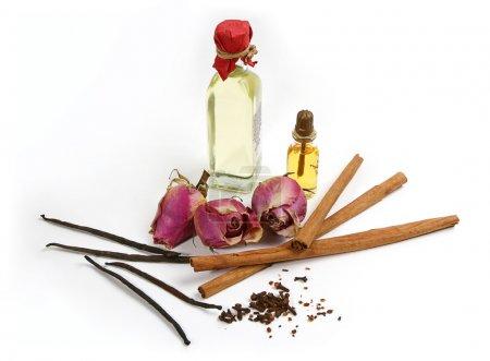 Photo pour Herbes et épices pour aroma huile isolé sur fond blanc - image libre de droit