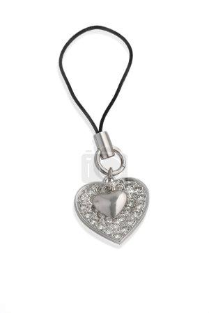 Photo pour Pendentif en forme de coeur de téléphone cellulaire. isolateed sur fond blanc - image libre de droit