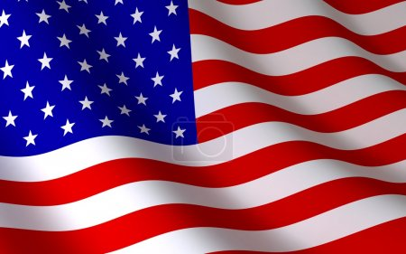 Photo for American flag on wind (done in 3d) - Royalty Free Image