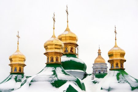 Cathedral domes in Kiev (kyiv) Ukraine
