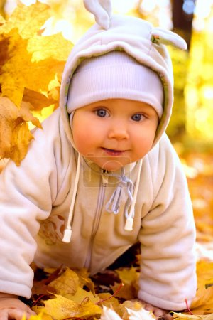The baby in autumn park