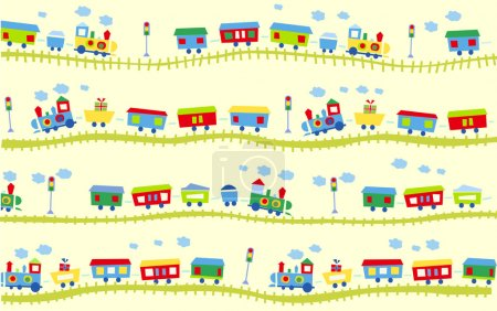 Illustration for Vector illustration of cute design elements, train pattern - Royalty Free Image