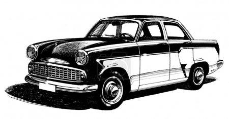 Photo pour Élégante voiture urbaine quatre places antique, les années soixante, bicolore. croquis au crayon - image libre de droit