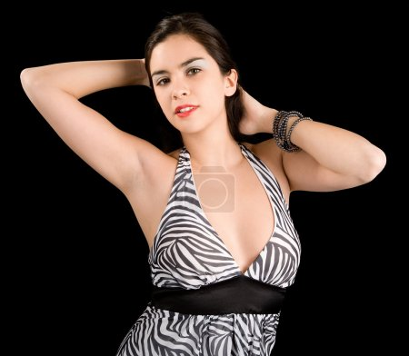 Lady Posing in a Black and White Dress
