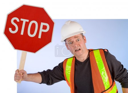 Construction Worker Asking to Stop Doing
