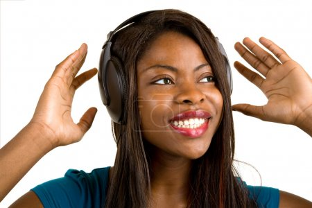 African American Lady Listening to Music