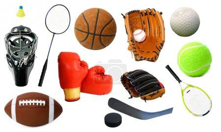 Foto de Este es un arreglo de varios artículos de deportes. - Imagen libre de derechos