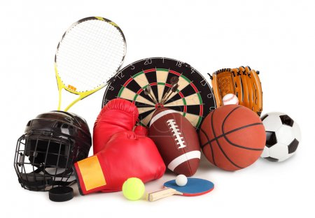 Photo for This is an arrangement of several sports items. - Royalty Free Image
