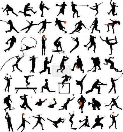 Illustration pour 50 silhouettes sportives de haute qualité - vecteur - image libre de droit