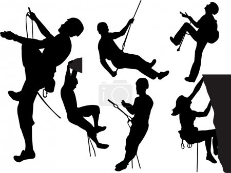 Rock climbers silhouettes