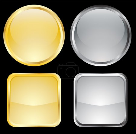 Illustration for Empty gold and metallic buttons - vector - Royalty Free Image