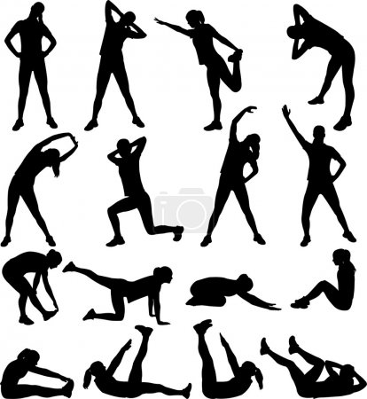 Woman exercising silhouettes