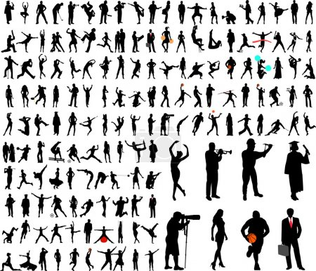 Photo for 150 high quality silhouettes collection - vector - Royalty Free Image