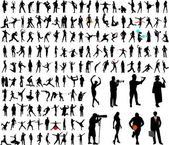 150 high quality silhouettes collection - vector