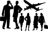 Stewardess and pilot silhouettes