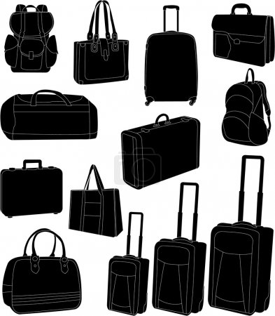 Illustration for Travel bags and suitcases collection - vector - Royalty Free Image