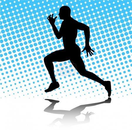 Illustration pour Silhouette en cours d'exécution sur l'arrière-plan de demi-teinte abstraite de l'homme - vector - image libre de droit