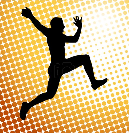Man jump on the abstract background