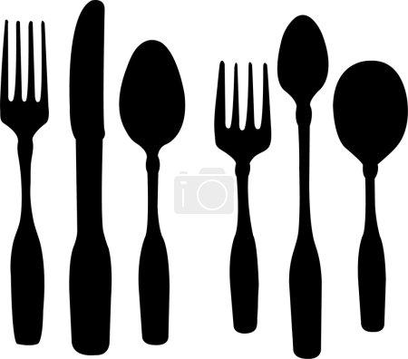Illustration pour Cuillère couteau et fourchette - vecteur - image libre de droit