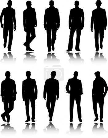 Illustration for Fashion men silhouettes - vector - Royalty Free Image