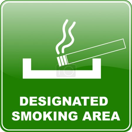 """designated smoking area"" sign"