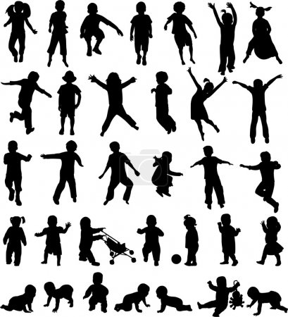 Photo for Children silhouettes collection - vector - Royalty Free Image