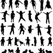 Children silhouettes collection - vector