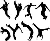 Capoeira fighters silhouettes