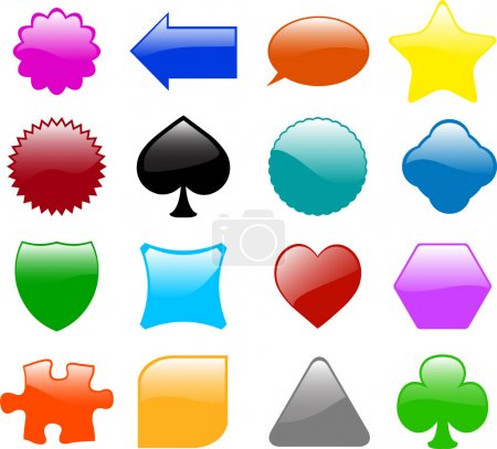 Illustration for Set of sixteen different glossy shapes - vector - Royalty Free Image