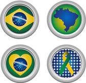 Brazil Buttons with ribbon heart map and flag