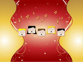 5 in choir singing with music notes stars golden ornaments
