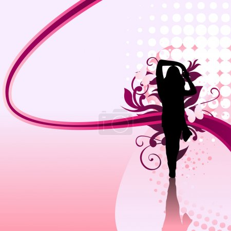 Illustration for Beautiful girl silhouette with pink swirls and dots - Royalty Free Image