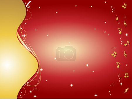 Illustration for Red and gold background with music notes and ornaments - Royalty Free Image