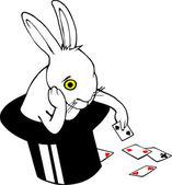 Bored bunny in magic hat