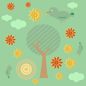 Retro style background with tree sun clouds flowers and birds