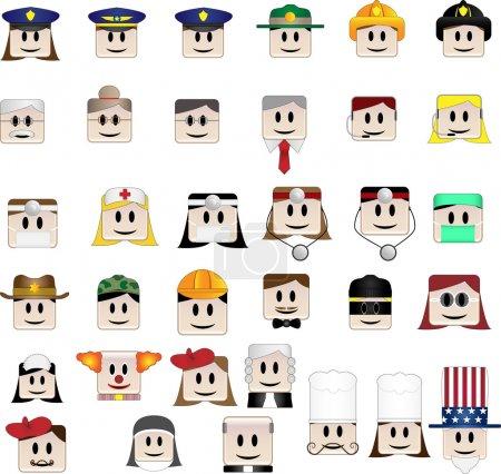 Photo pour Ensemble de 34 icônes représentant différentes professions - image libre de droit