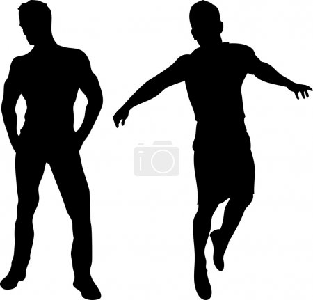 Illustration for 2 sexy men silhouettes on white background. Editable Vector Image - Royalty Free Image