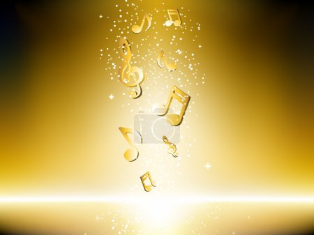 Illustration for Golden background with music notes and stars. Editable Vector Image - Royalty Free Image
