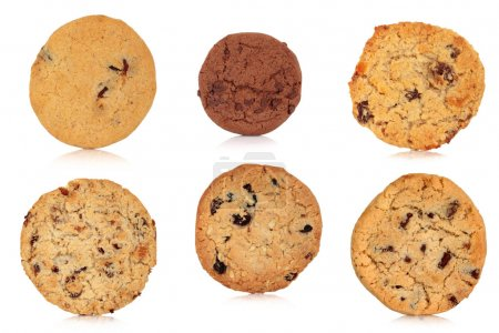 Photo for Cookie selection of various types of chocolate chip, flapjack, muesli, blueberry and oats, isolated over white background. - Royalty Free Image