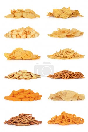 Photo for Junk food snack collection, isolated over white background. - Royalty Free Image