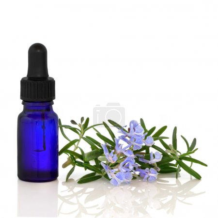 Photo for Rosemary herb flowers with aromatherapy blue glass essential oil dropper bottle, over white background with reflection. - Royalty Free Image