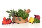 Výběr zeleniny a bylin