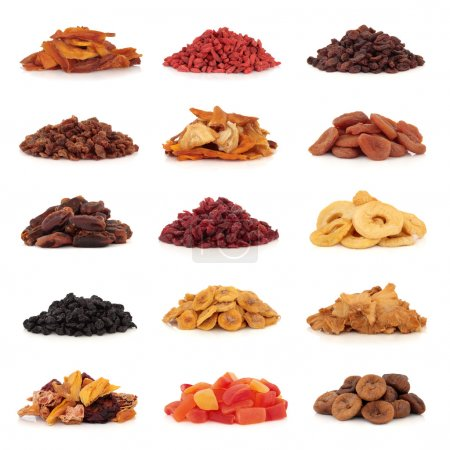 Large collection of dried and candied fruit for sn...