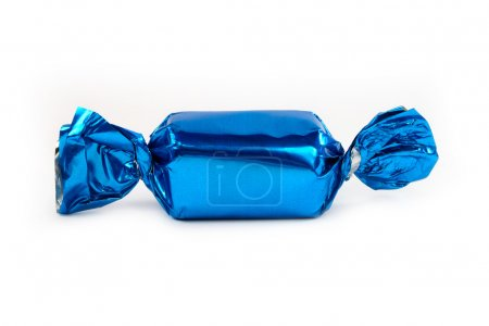Photo for Single blue candy wrapped isolated on white - Royalty Free Image