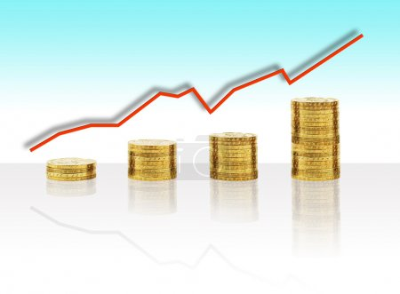 Photo pour Monnaie d'or comme graphique de croissance de l'économie mondiale - image libre de droit