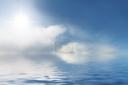 Photo pour Sans nuages et le fond de l'eau bleue, Pacifique - image libre de droit
