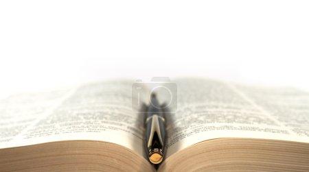 Photo pour Stylo plume sur le livre composition symétrique, isolé - image libre de droit