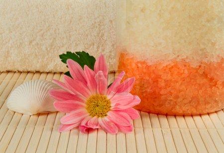 Photo pour Sel de bain, shell et une fleur rose - image libre de droit